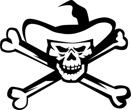 Illustration d'un crâne de pirate de cow-boy et os croisés vu de l'avant sur fond blanc isolé, fait dans un style rétro. Banque d'images - 84416275