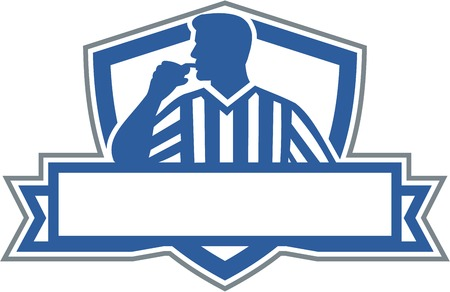 Illustration of a referee umpire official holding blowing whistle in mouth looking to the side viewed from front set inside shield crest with banner done in retro style.