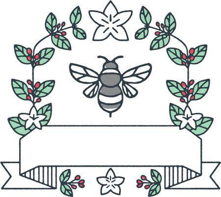 マルハナバチやバンブル ミツバチ、マルハナバチ、属のメンバーのモノラル ライン イラスト セイヨウオオマルハナバチの一部に囲まれてコーヒー