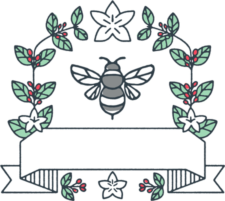 Mono line style illustration of a bumblebee or bumble bee, a member of the genus Bombus, part of Apidae surrounded with coffee leaves and cherries flower set on isolated white background. Ilustração