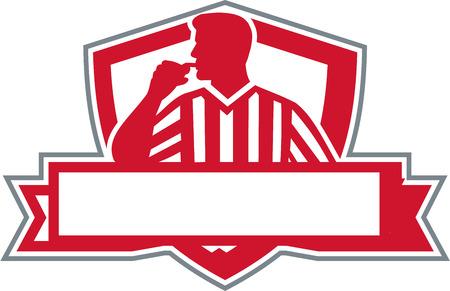 審判のイラストは、公式開催の前部盾の紋章の中でレトロなスタイルのバナーをセットから表示側を口の中で笛を吹く審判します。