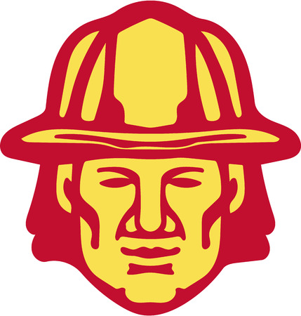 Illustration of a fireman fire fighter emergency worker head wearing hardhat viewed from front set on isolated white background done in retro style. Illustration