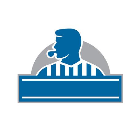 복고 스타일을 이루어 절반 원 안에 설정된 프런트에서 볼 측면을보고하는 심판 심판 공식 휘파람의 그림.