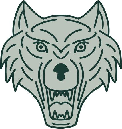 灰色の狼頭を示す歯の牙のモノラル ライン スタイルの図は前部セット レトロなスタイルで行われる分離の白い背景の上から見た。