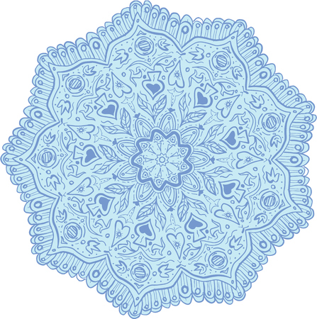 マンダラ孤立の背景を白に設定の花のイラスト。