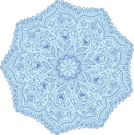 Mandala style illustration of flowers set on isolated white background.