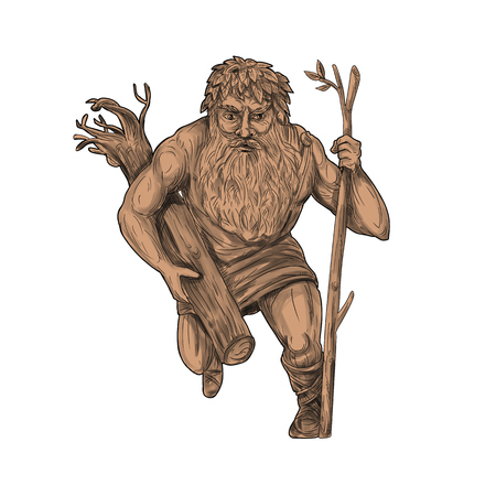 Tattoo style illustration of a leshy or Leshiye , a tutelary spirit of the forests in Russian or Slavic folklore holding tree trunk and staff viewed from front on isolated white background.  Stock Photo