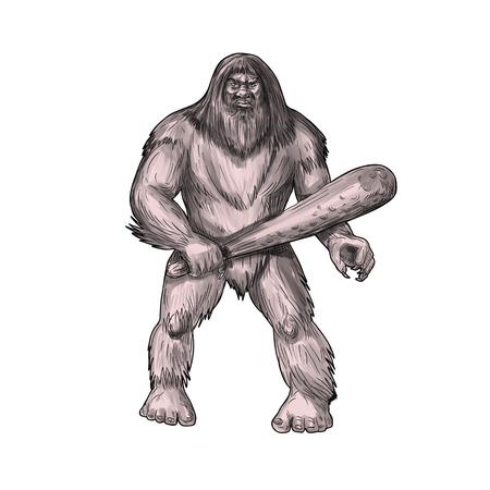 Bigfoot 또는 Sasquatch의 문신 스타일 그림, 숲에 서식하는 미국 민속의 조카 같은 생물은 일반적으로 큰, 털이, 이족 두발 휴머노 서 지주 클럽 정면에서