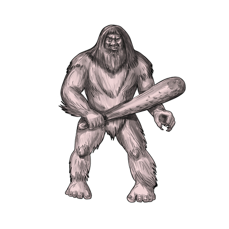 Tattoo style illustration of a Bigfoot or Sasquatch, a simian-like creature of American folklore that  inhabit forests, usually described as a large, hairy, bipedal humanoid standing holding club viewed from front set on isolated white background.