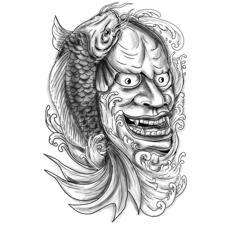 Tattoo style illustration of a hannya mask with koi fish and cascading water on the side set on isolated white background.