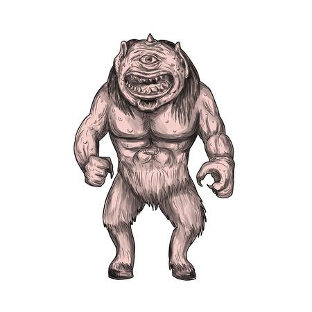 문신 스타일 그림의 cyclops, 그리스와 로마 신화 서 그의 마의 센터에서 단일 눈으로 거 인 원주 레이스의 구성원 격리 된 흰색 배경에 전면에서 볼.
