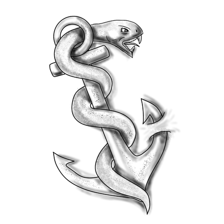 Tattoo style of an asclepius snake curling up on an anchor set on isolated white background.  Фото со стока