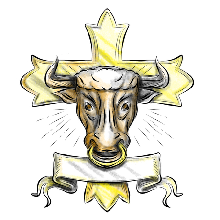 Illustration of a bull ox bullock head with ring in nose, scroll and Christian cross in background done in tattoo style.