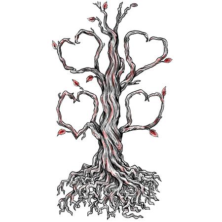 Tattoo stijl illustratie van een Twisted Oak Tree zonder bladeren en Tak in hart en wortels gedaan in handschets tekening Tattoo.