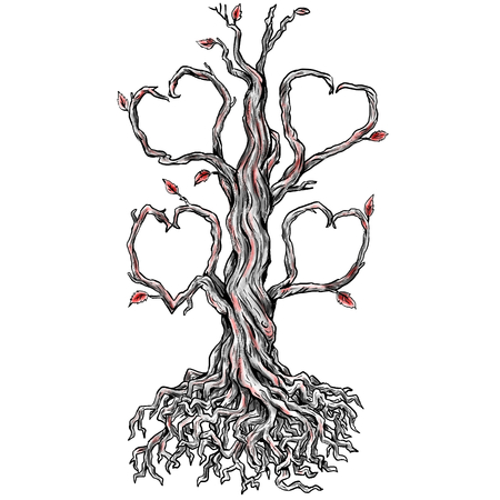 Tattoo style illustration of a Twisted Oak Tree without leaves and Branch forming into Heart and roots done in hand sketch drawing Tattoo. Фото со стока