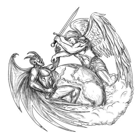 手描きのスケッチの入れ墨のスタイルを行う地球世界を聖ミカエル悪魔と天使天使の戦いのイラストを入れ墨。