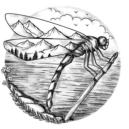 Ilustración de estilo de tatuaje de una libélula con la escena de la montaña dentro Alas con el océano del lago en el fondo hecho a mano boceto dibujado Estilo de dibujo del tatuaje. Foto de archivo - 84850925