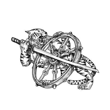 Tattoo style illustration of a Tiger With Katana Samurai Sword and Dharma Wheel done in hand sketch drawing Tattoo style.