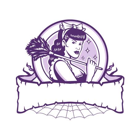 イラスト、フランス語メイド女性クリーナーのスクロールとレトロなスタイルでクモの巣の円の内側フロント セットを肩に羽の塵払いを保持してい  イラスト・ベクター素材