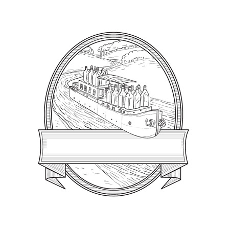 Illustration of Gin Bottles riding on a Barge River boat traveling on creek stream set inside Oval done in black and white  Line Drawing style.