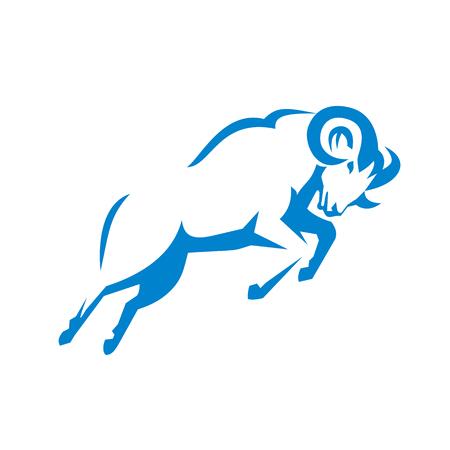 山羊のイラストは ram ジャンプはレトロなスタイルで行われる側から見た山羊です。  イラスト・ベクター素材