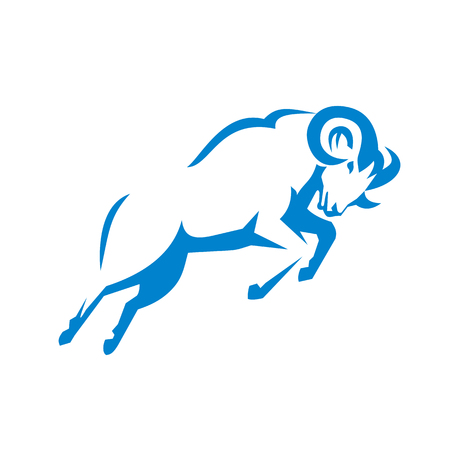 Illustration of a Mountain Sheep ram goat Jumping viewed from Side done in Retro style.