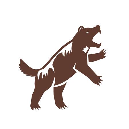 ウルヴァリン、Gulo gulo、大食漢、carcajou、スカンクのクマ、または quickhatch、後ろ足で立っているイタチ科の最大の土地住居種のイラスト。