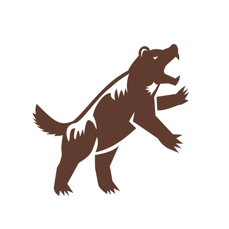 Gulo gulo, glutton, carcajou, 스컹크 곰 또는 quickhatch, 뒷 다리에 서있는 가족 Mustelidae의 가장 큰 육지 종의 그림. 스톡 콘텐츠 - 84713138