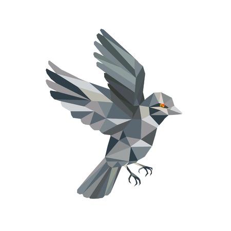 낮은 다각형 스타일에서 수행하는 격리 된 배경에 비행 오래 된 세계 참새의 그림. 일러스트