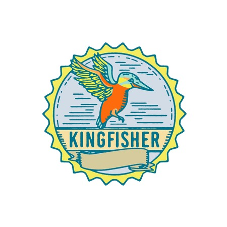 Illustration of a Kingfisher flying viewed from Side with scroll set inside Rosette shape and word text Kingfisher done in Retro style.