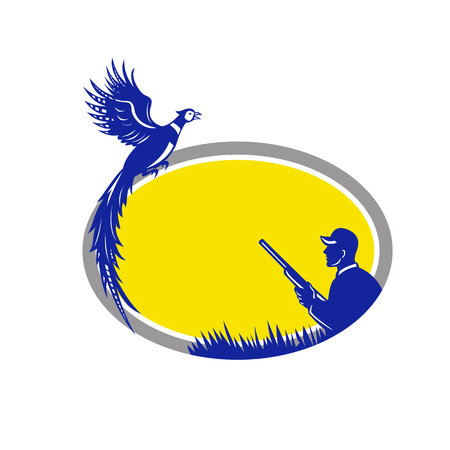 Illustration of a wild game bird Hunter with rifle shotgun and Pheasant Bird flying up set inside Oval shape done in Retro style.