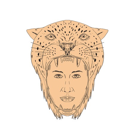 재규어 머리를 착용하는 여성 아즈텍 전사의 그림 머리 장식 손으로 그린 스케치에서 수행하는 앞에서 본 드로잉 스타일입니다. 일러스트