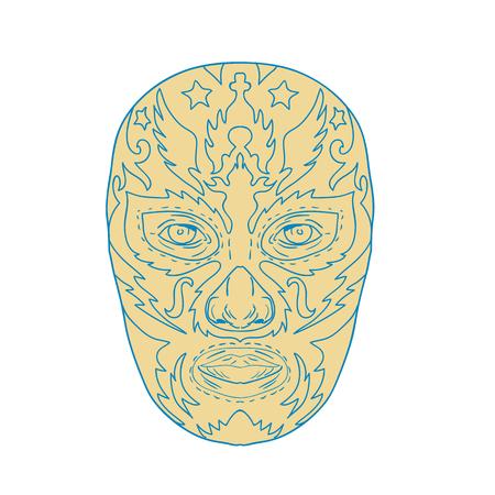 Illustratie van een Mexicaanse Luchador Lucha Libre worstelaar Masker Front View gedaan in lijn Tekenstijl op zichzelf staande achtergrond.
