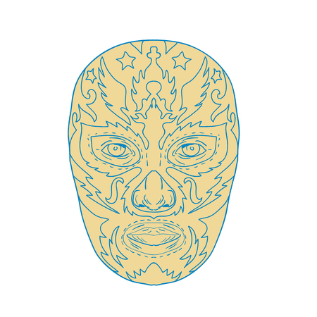 Illustration of a mexican Luchador  Lucha Libre wrestler Mask Front View done in line Drawing style on isolated background.