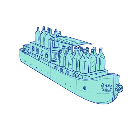 平らな底のバージ船にジンのボトルのイラストは、孤立した背景、手のスケッチの描画スタイルに設定します。  イラスト・ベクター素材