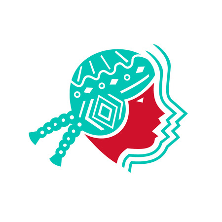 Icon style illustration of Peruvian South American girl viewed from side on isolated background.