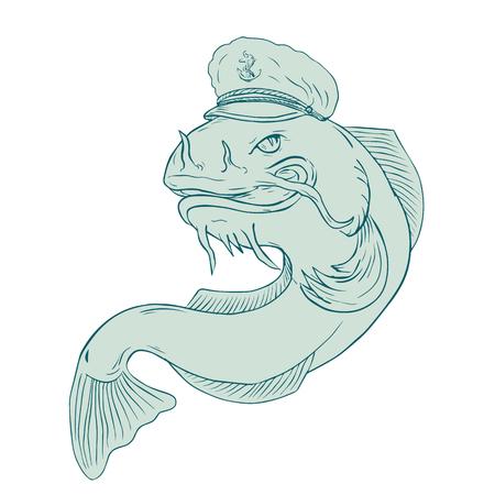 Tekening schets stijl illustratie van een meerval dragen zeekapitein hoed pet op geïsoleerde achtergrond.