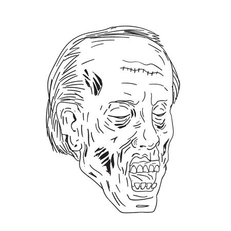 Tekening schets stijl illustratie van een undead zombie met hoofd ogen gesloten op geïsoleerde achtergrond gedaan in zwart en wit.
