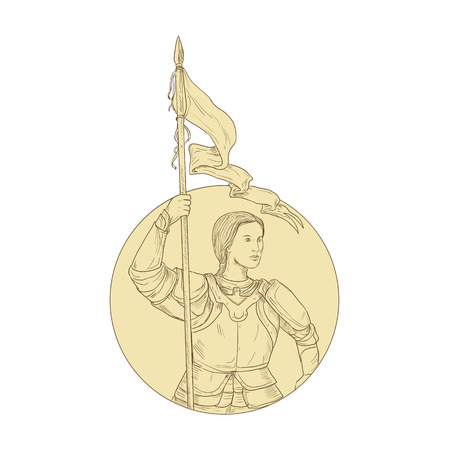 Drawing sketch style illustration of female knight joan of arc holding flag set inside circle on isolated background. Zdjęcie Seryjne - 85338536