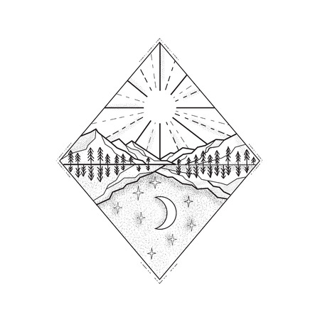 Mono line illustration of a day and night symbol with sun and mountains on top and stars and moon below set inside diamond done in black and white. Ilustração