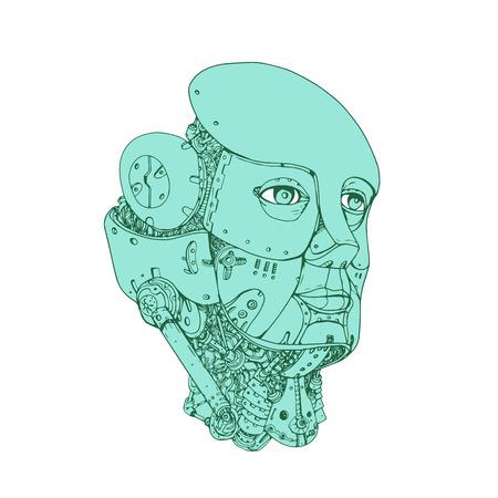 ●孤立した背景に前面設定から見た女性の android 型ヒューマノイドロボットヘッドのモノラインイラスト。