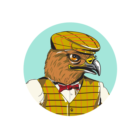 Drawing sketch style illustration of head of a hawk english outdoorsman wearing cheese cutter hat cap, vest, bow tie set inside circle done in cartoon style. Ilustrace