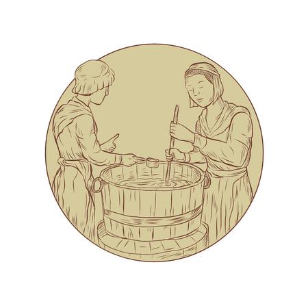 Illustratie van twee middeleeuwse alewife brouwen bier ale in vat open top vat gedaan in de hand getrokken schets tekenstijl. Stock Illustratie