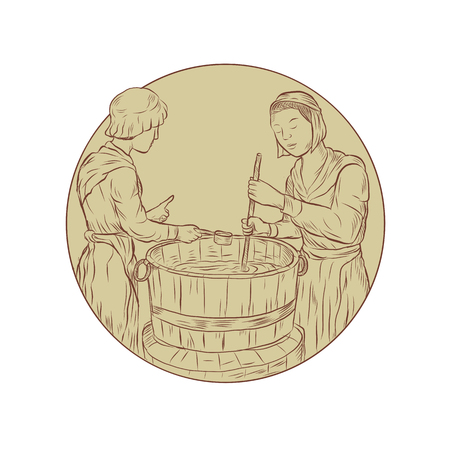 Illustration of two medieval alewife brewing beer ale in vat open top barrel done in hand drawn sketch Drawing style.