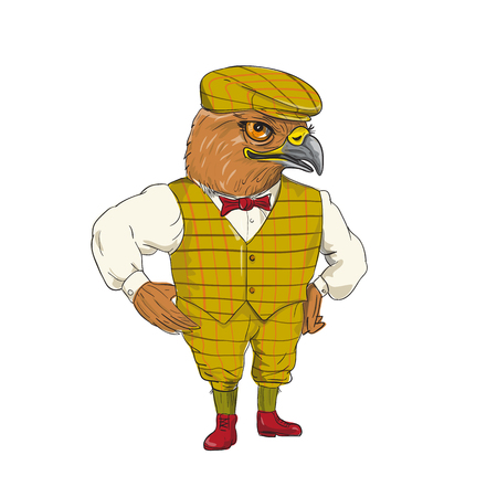 Drawing sketch style illustration of a Hawk English Outdoorsman wearing cheese cutter hat cap, vest, bow tie with hands on hips done in cartoon style.