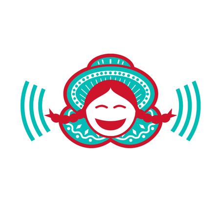 격리 된 배경에 음성 기호로 웃 모자를 쓰고하는 남미 페루 소녀의 레트로 아이콘 스타일 그림.