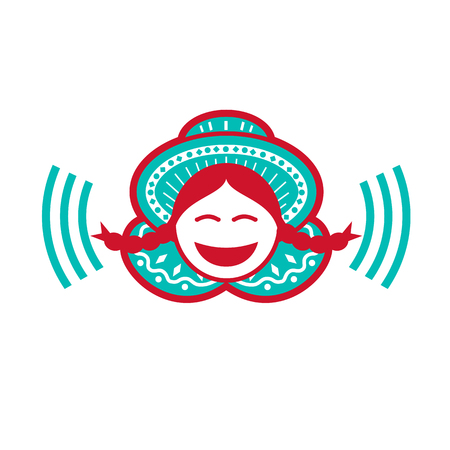 Retro icon style illustration of a south american peruvian girl wearing hat smiling with voice symbol on isolated background.
