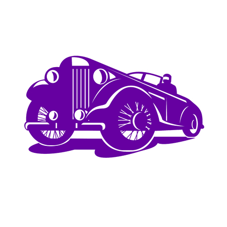 Retro style illustration of a vintage coupe viewed from a low angle on isolated white background.
