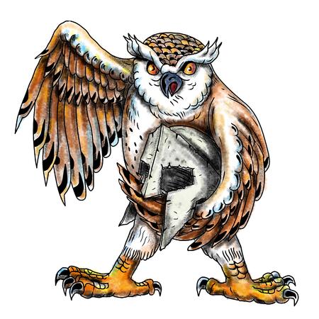 フクロウは、孤立した背景に正面から見たスパルタン ヘルメットを保持しているフクロウから夜行性の猛禽のタトゥー スタイル イラスト。 写真素材