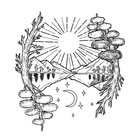 Ilustración de estilo de tatuaje de un simbolismo de día y noche con sol, árboles y montañas en la mitad superior y la luna y las estrellas a continuación. Foto de archivo - 85367500